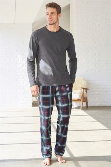 Plum Check Cosy Long Set