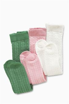 Pink/Cream/Green Tights Three Pack (0mths-2yrs)