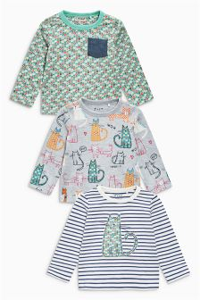 Blue Cat Long Sleeve Tops Three Pack (3mths-6yrs)