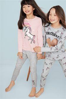Pink/Grey Unicorn Legging Pyjamas Two Pack (3-16yrs)