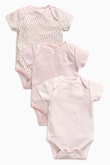Pink Floral Print Short Sleeve Bodysuits Three Pack (0mths-2yrs)