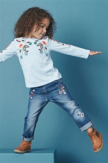 Blue Embroidered Long Sleeve T-Shirt (3mths-6yrs)