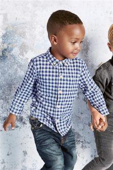 Blue Long Sleeve Check Shirt (3mths-6yrs)
