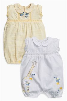 Yellow/White Embroidered Rompers Two Pack (0mths-2yrs)