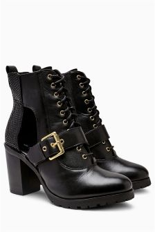 Black Cut Out Platform Lace-Up Boots