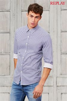 Replay® Blue Patterned Shirt