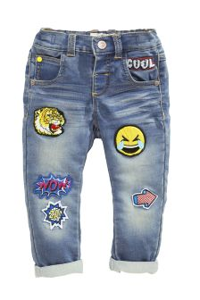 Denim Blue Badged Jersey Jeans (3mths-6yrs)