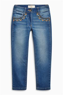 Denim Dark Wash Embroidered Relaxed Skinny Jeans (3-16yrs)