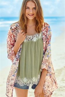 Nude Floral Cover Up