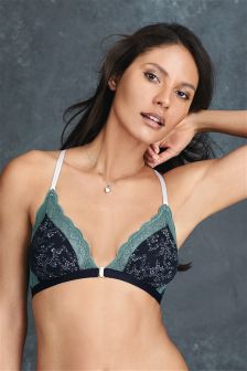 Mauve Daisy Non Wire Front Fastening Jacquard Bralet