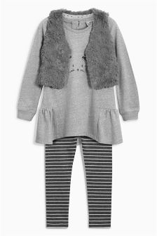 Grey Faux Fur Bunny Gilet Set (3mths-6yrs)