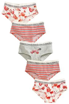 Pink/Grey Flamingo Hipsters Five Pack (3-16yrs)