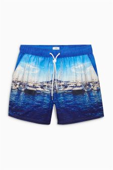 Blue Boat Photographic Swim Shorts