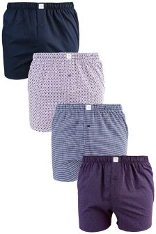 Purple Mix Pattern Woven Boxers Four Pack
