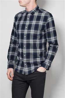Navy Ombre Window Pane Shirt