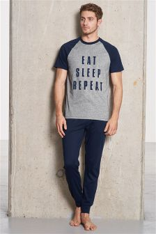 Grey/Navy Eat Sleep Repeat Jersey Set