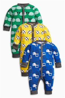 Bright Farm All Over Print Rompers Three Pack (0mths-2yrs)