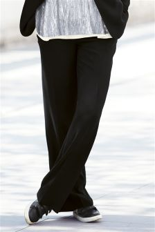 Black Crepe Slouch Trousers