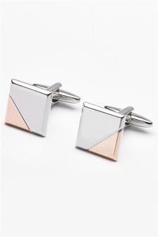 Silver/Rose Gold Tone Brushed Cufflink