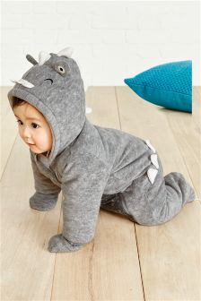 Grey Dinosaur All-In-One Suit (0mths-2yrs)