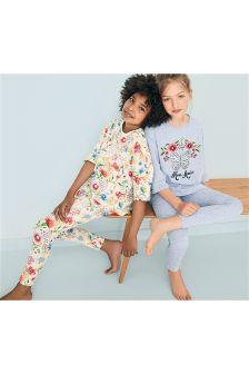 Blue Floral Legging Pyjamas Two Pack (3-16yrs)