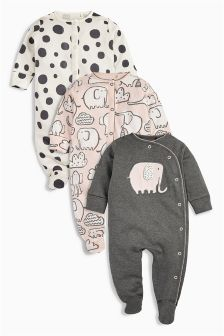 Pink/Grey Elephant All Over Print Sleepsuits Three Pack (0mths-2yrs)