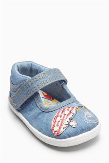 Denim Cat Pram Shoes (Younger Girls)