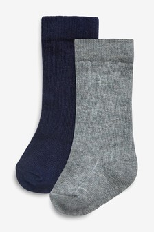 Grey/Navy Socks Two Pack (Younger Boys)