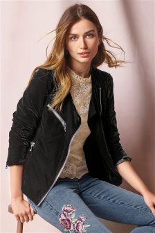 Black Velvet Biker Jacket