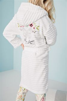 White Embroidered Butterfly Robe (3-16yrs)