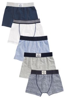 Blue Marl Trunks Five Pack (2-16yrs)