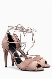 Signature Leather Lace-Up Sandals