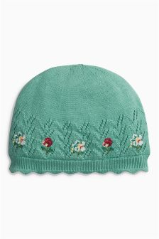 Green Embroidered Knit Hat (0mths-2yrs)
