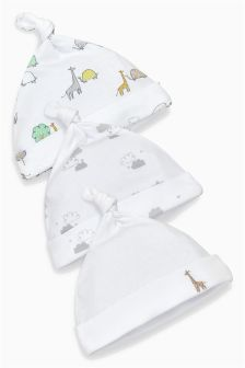 White Delicate Animals Hats Three Pack (0-12mths)