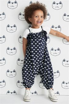 Navy Cat Print Romper (3mths-6yrs)