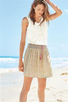 Cream Print Skirt