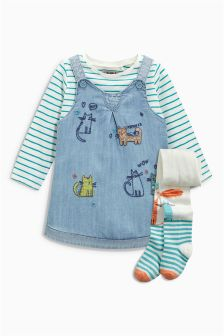 Denim Pinafore, T-Shirt And Tights Set (3mths-6yrs)