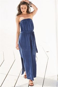 Blue Print Belted Maxi Dress