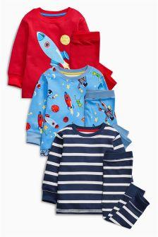 Multi Rockets Snuggle Fit Pyjamas Three Pack (9mths-8yrs)
