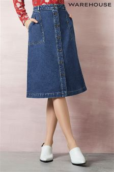 Midi Denim Skirt Uk | Jill Dress