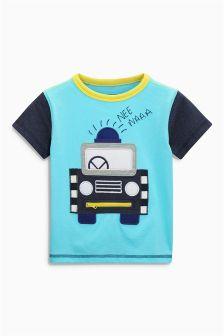 Blue Appliqué Police Car T-Shirt (3mths-6yrs)