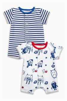 White/Blue Space Short Leg Rompers Two Pack (0mths-2yrs)