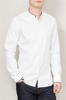 White Long Sleeve Smart Tipped Grandad Collar Shirt