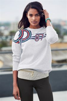 Print Graphic Sweat With Mesh