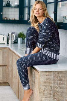 Navy/White Spot Pyjamas