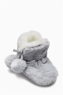 Pom Pom Slipper Boots (Younger Girls)