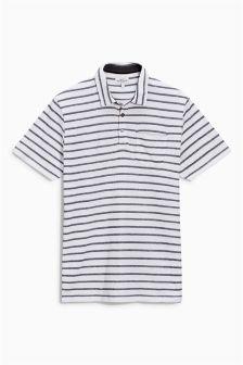 White/Navy Jacquard Stripe Polo