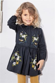 Navy Embroidered Dress With Tights (3mths-6yrs)