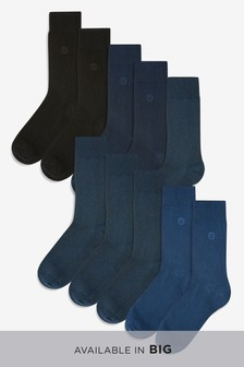 Navy/Black N Embroidered Socks Ten Pack