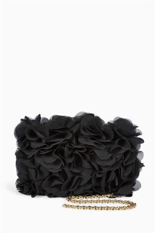 Black Frilly Clutch Bag